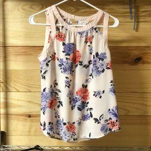 Sleeveless floral blouse